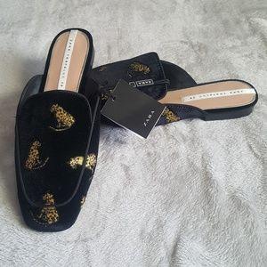 Zara cheetah embroidered mule slide NWT